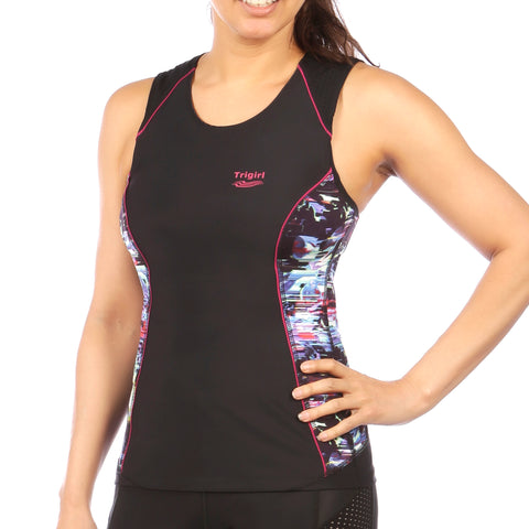 Ritzy Trisuit with/ without Support Bra in Purple Galaxy