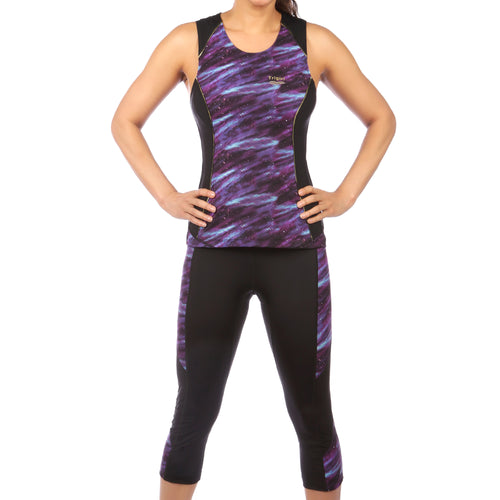 Sassy & Gait Triathlon Top and Capri Set in Purple Galaxy