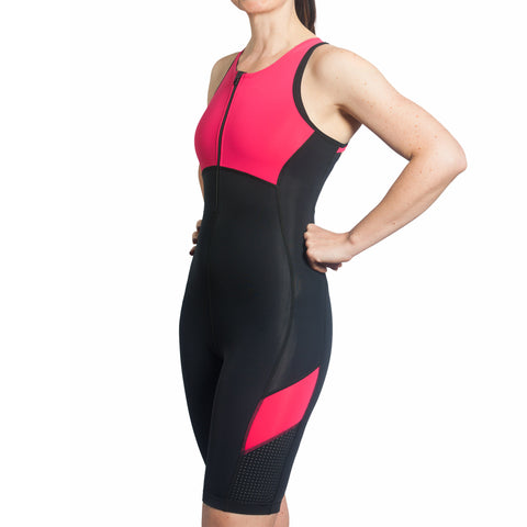Spice Trisuit with Support Crop in Print Wave Green