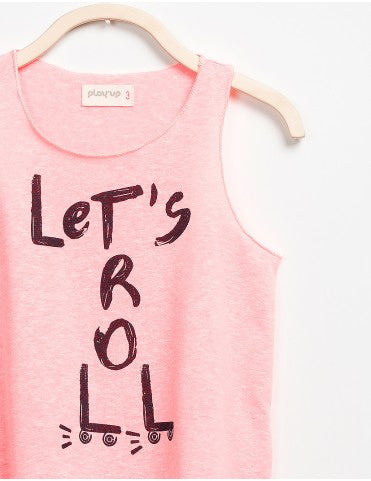 coral colored tank with Lets Roll graphic