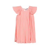 girls pinstripe dress in peach color