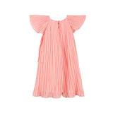 girls pinstriped dress in peach back view