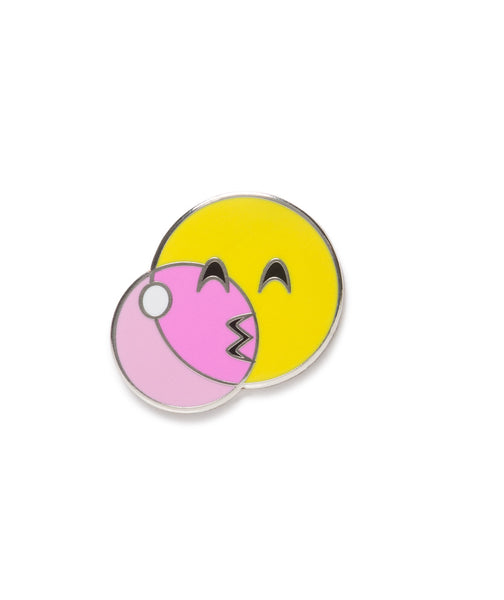 emoji blowing a pink bubble decal