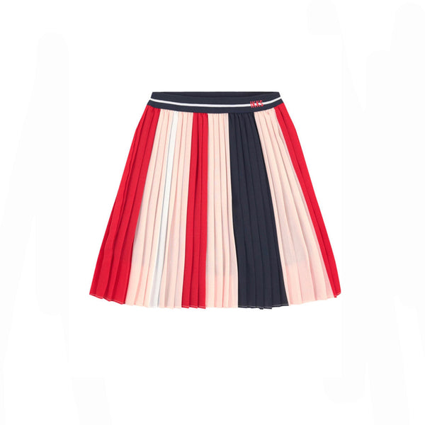 girls pleated red white and blue skirt