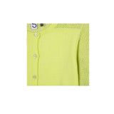 girls neon yellow cardigan close up