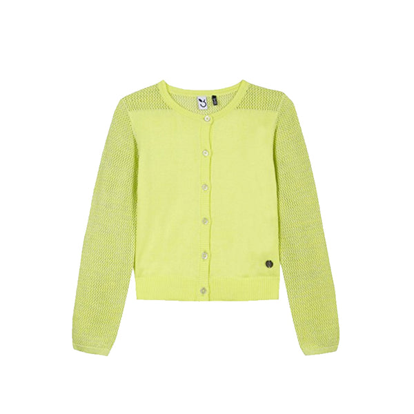 girls neon yellow cardigan