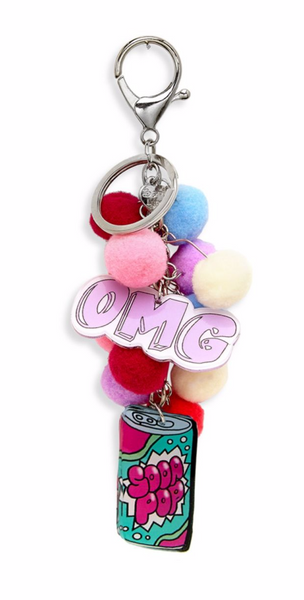 pom-pom keychain with pop soda charm