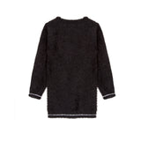 black mohair sweater dress with eyelash detail back view