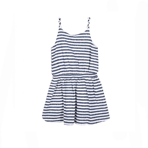 girls dress with nautical striped and braided strap detail
