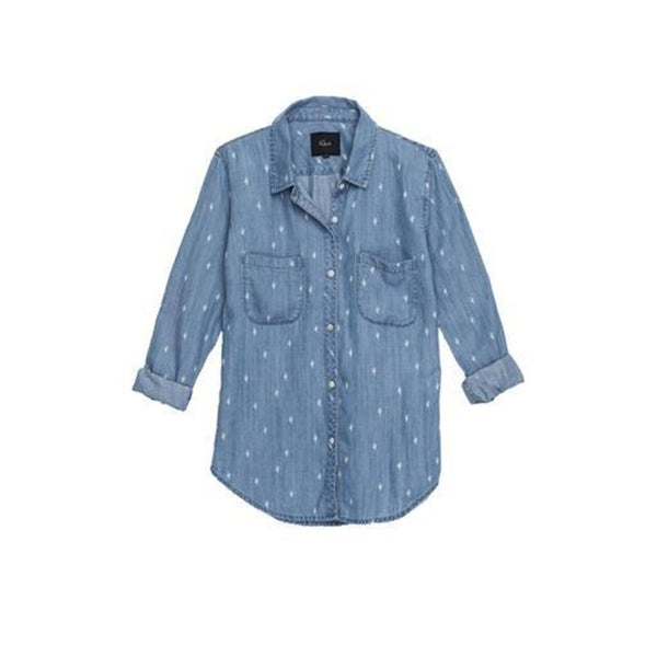 girls denim shirt with allover cactus print