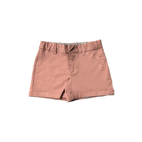 stretch cotton twill shorts in dusty pink