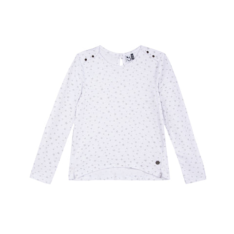 girls white long sleeve tee with allover star print design