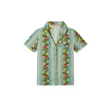 tropical-inspired printed button up shirt