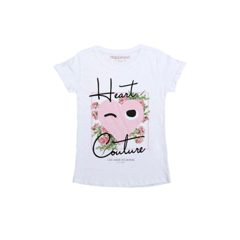 white tshirt with heart couture print