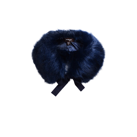 fur collar in navy