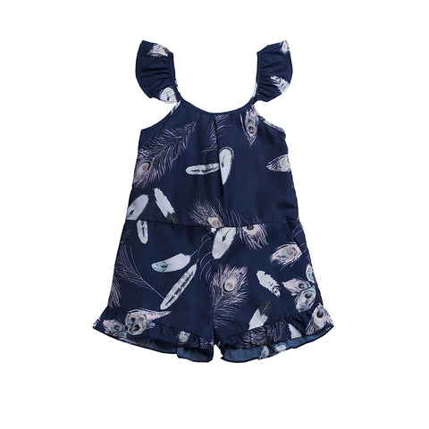 girls allover printed feather romper with flutter sleeves