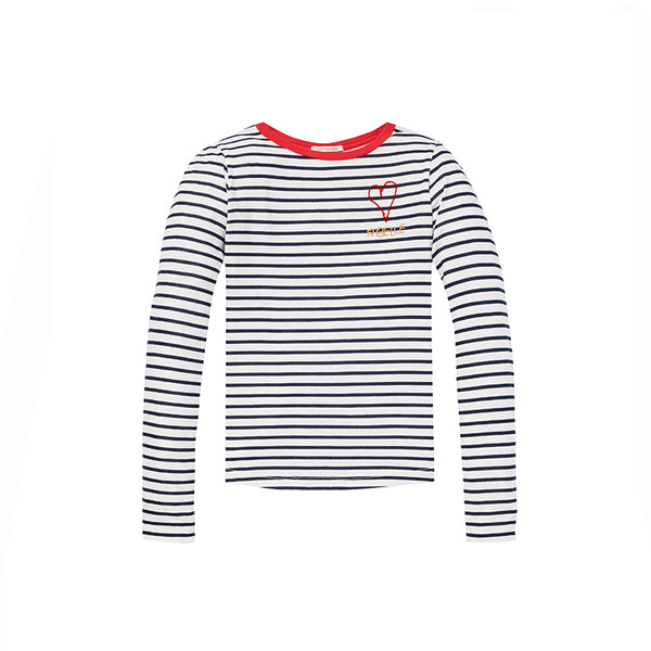 long sleeve striped tee with heart chest artwork