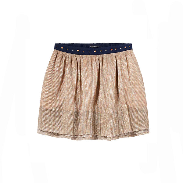 girls layered skirt with metallic effect and studs on waistband