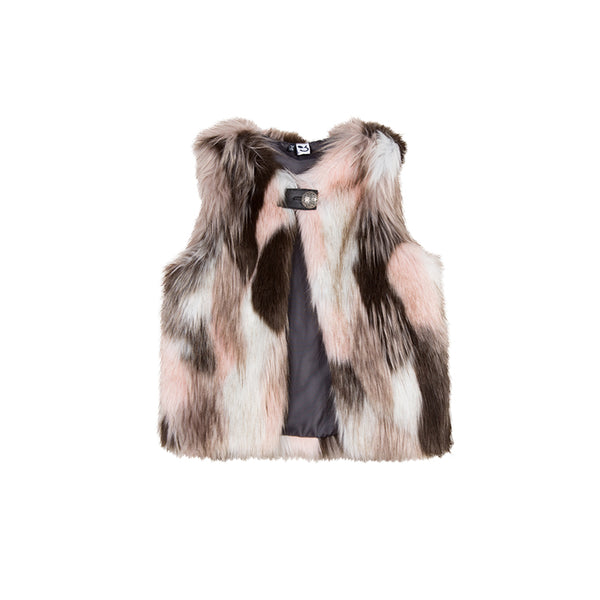 girls multi colored faux fur vest