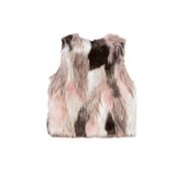 girls multi colored faux fur vest back view