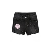 girls black denim shorts with paint splatter