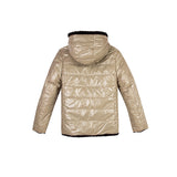 girls gold and black reversible jacket back view