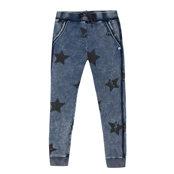 girls star printed sweatpants in indigo