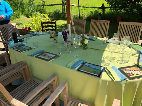 Lime Tablecloth with Turquoise Border