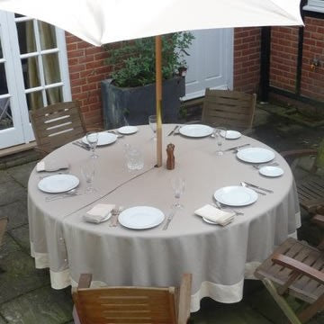 Beige Tablecloth with Linen Border