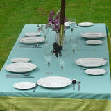 Turquoise Tablecloth with Lime Border