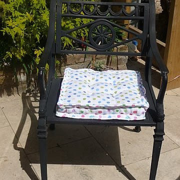Blue Spotty Garden Seat Cushion