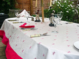 Creme Tablecloth with Dragonflies and Pink Border