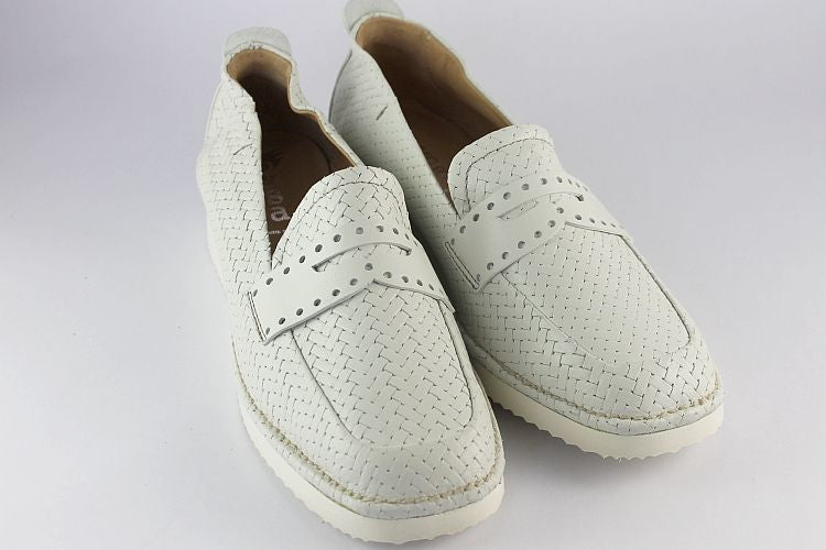 'Antique White' Woven Leather Penny Loafer
