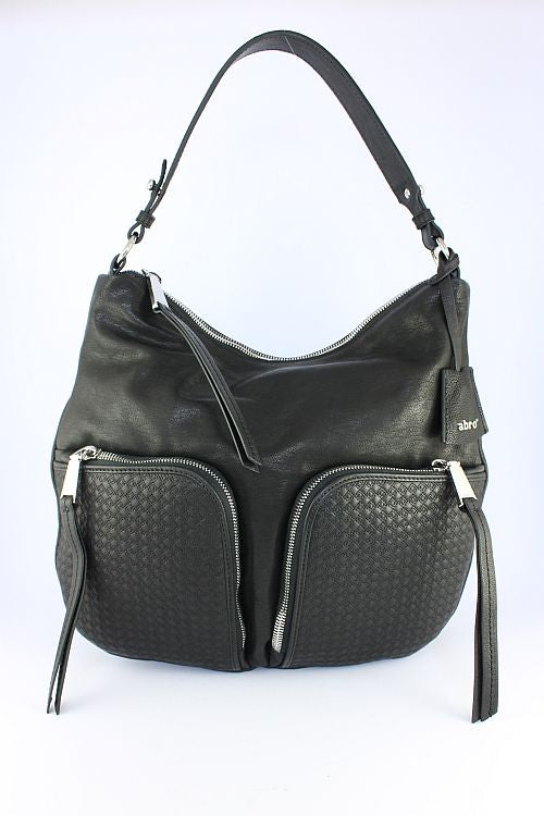 Black Leather Bag With Two Pockets