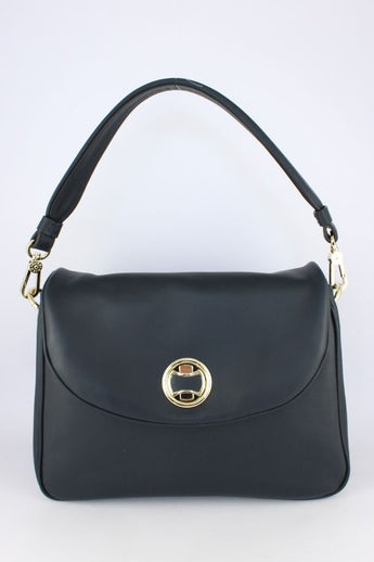 Navy Leather Handbag With Gold Clasp