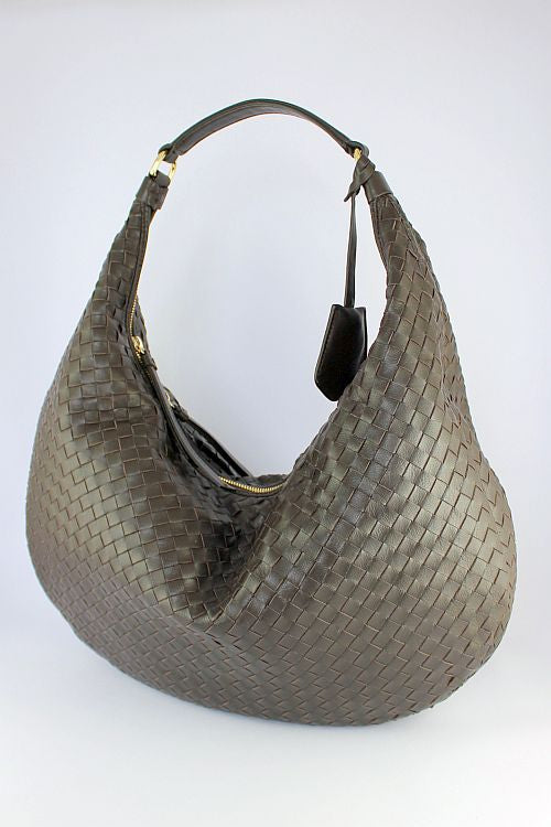 Dark Brown Woven Shoulder Bag