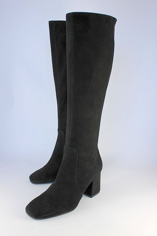 Black Suede Long Boot With High Heel