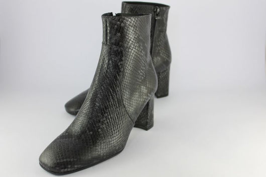 Grey Snakeskin Print High Heeled Ankle Boot
