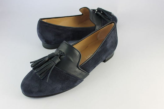 Navy Suede Loafer With Leather Tassels