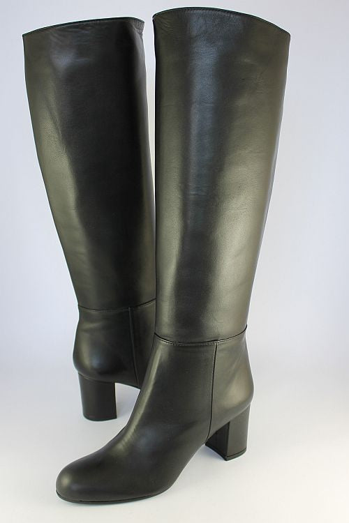 Black Long Leather Pull On Boot