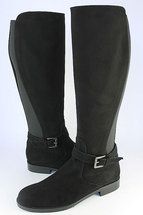 Black Suede Long Boot With Inside Zip