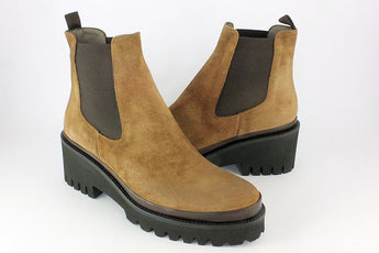 Light Tan Suede Chelsea Boot On A Wedge