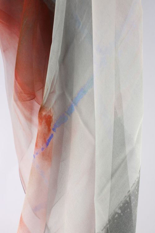 Silk Georgette Scarf - Grey, Peach, Rust