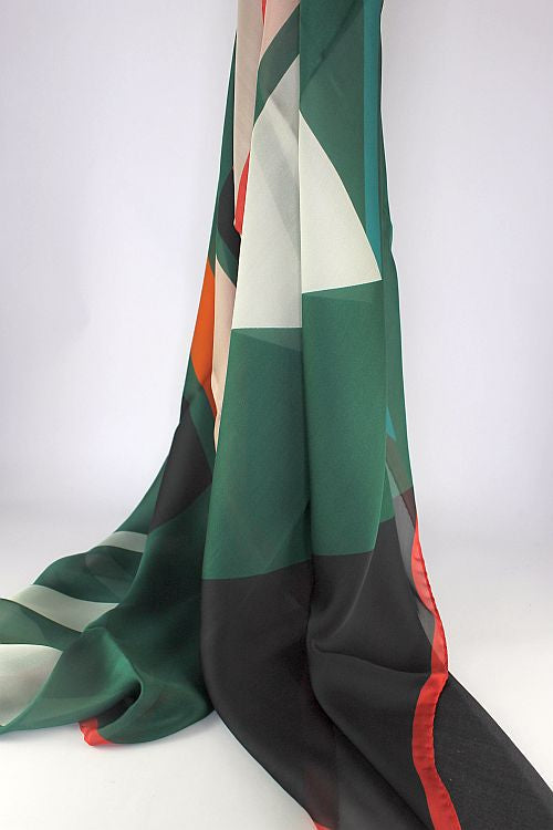 Dark Green / Black / Red / Orange Silk Scarf