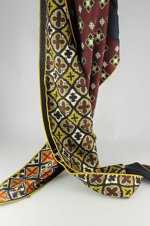 Dark Red & Yellow Paisley Silk Triangle