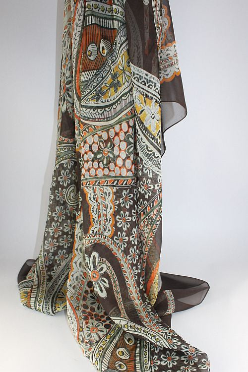 Brown Paisley Silk Scarf
