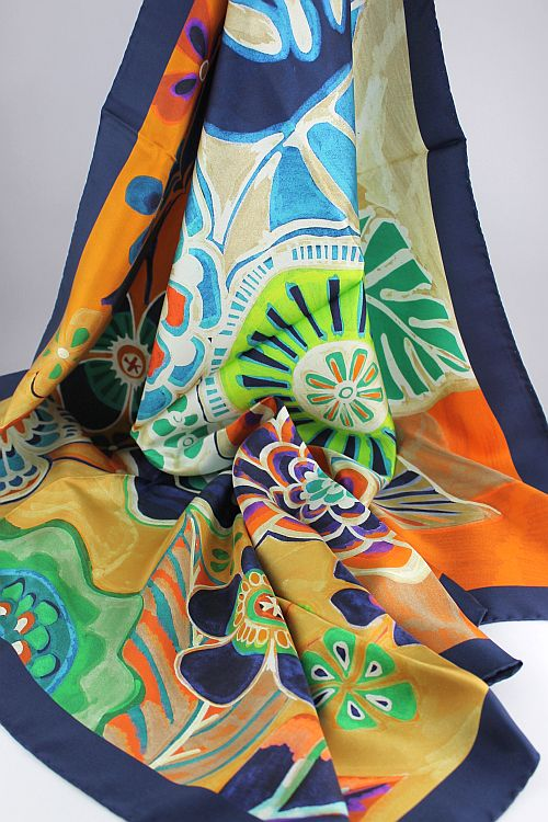 'Tropical' Silk Twill Scarf