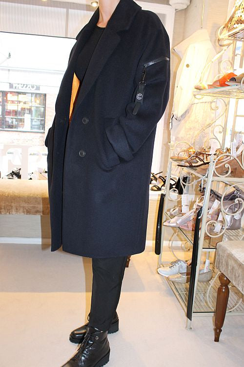 Navy / Black Wool Coat