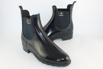 Navy Shiny Short Waterproof Boot