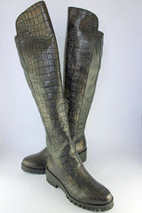 Chocolate Croc Long Boot on a Chunky Sole
